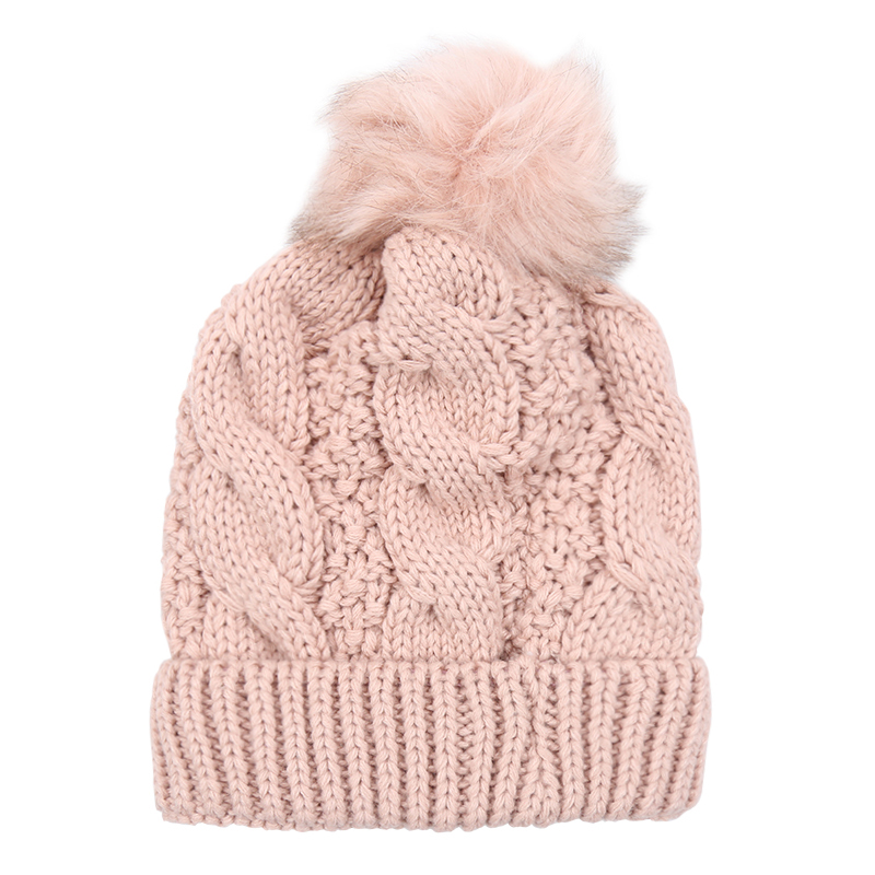 305821914ed Pink Chunky Knit Bobble Hat with Faux Fur Pom Pom. Also available in Grey